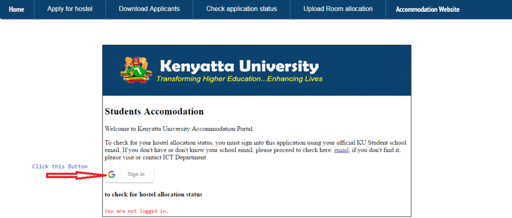 Kenyatta University Hostel Application & Accommodation