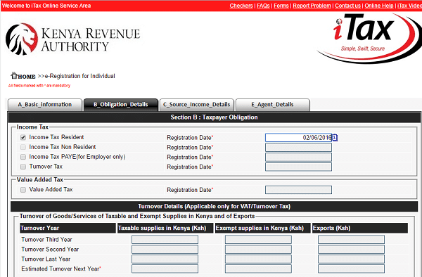 KRA PIN Application procedure on iTax